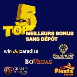 Top 5 casinos 2020 avec les meilleurs bonus sans dépôt